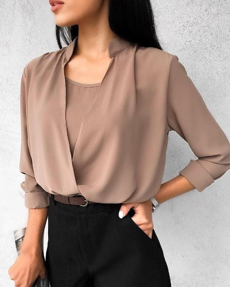 Solid Fake Two Piece Casual Blouse