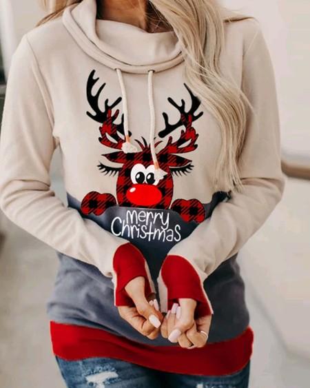 Christmas Cartoon Print Long Sleeve Hooded Sweatshirt