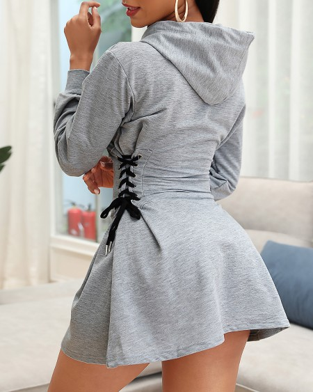 Long Sleeve Eyelet Lace-up Hooded Casual Dress