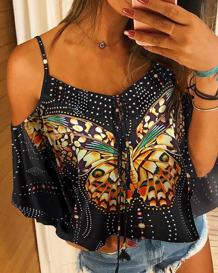 Cold Shoulder Butterfly Print Blouse