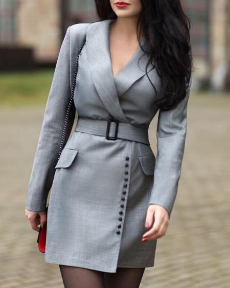 Notched Collar Popper Cuff Blazer Dress