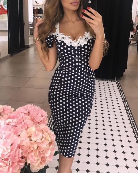 Lace Applique Dots Print Bodycon Dress
