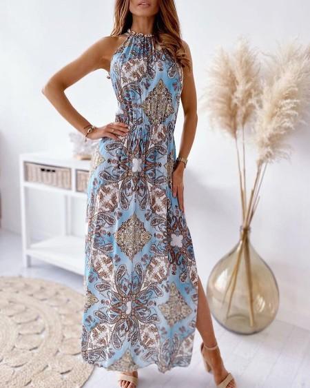 Baroque Print Sleeveless High Slit Maxi Dress