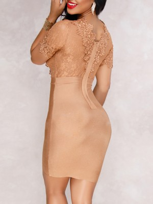 Formal Lace Guipure Splicing Sheath Dress