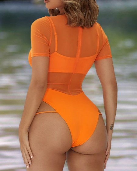 Sheer Mesh Cutout One Piece Swimsuit With Lining