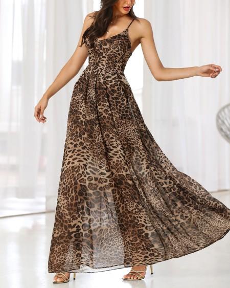 boutiquefeel / Spaghetti Strap Leopard Print Maxi Dress