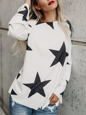 Trendy Star Print Skew Neck Casual Top