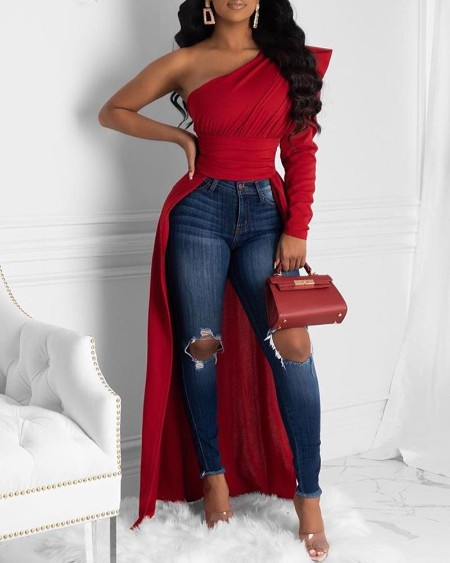 Solid One Shoulder Dip Hem Blouse