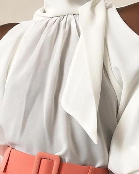 Cold Shoulder Tied Detail Blouse