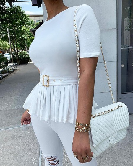 Solid Short Sleeve Pleated Casual Blouse