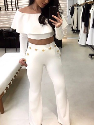 Stylish Flared Layered Cropped Top&Button Pant Sets