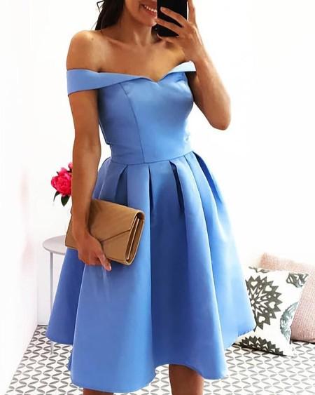 Solid Off Shoulder Pelated Dress