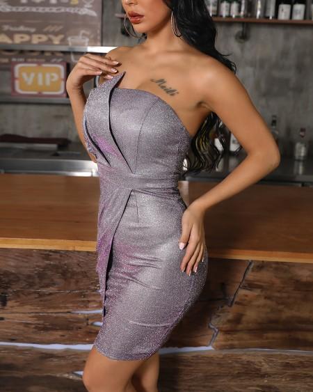 Ruched Design Tube Irregular Bodycon Dress