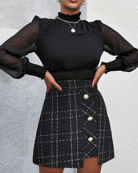 Tweed Button Design Irregular Skirt