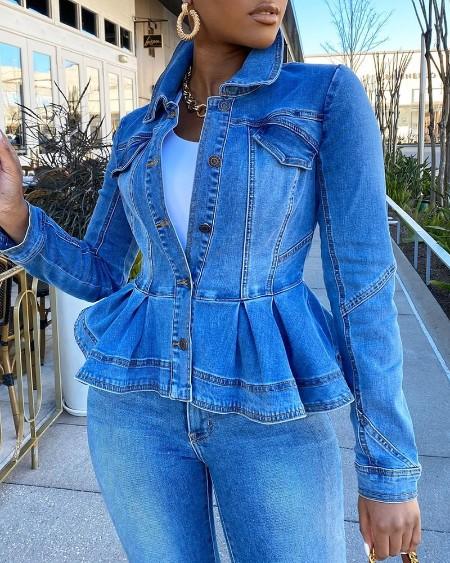 Ruffles Buttoned Pocket Design Denim Coat