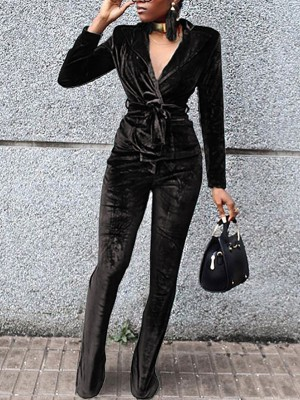 Velvet Wrapped Tied Waist Jumpsuit