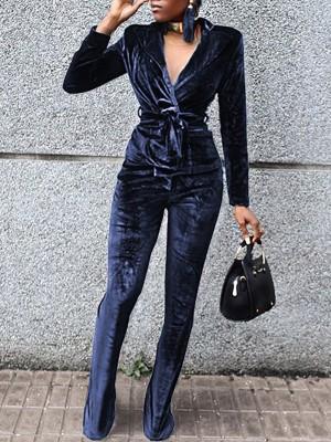 Velvet Wrapped Tied Waist Jumpsuit