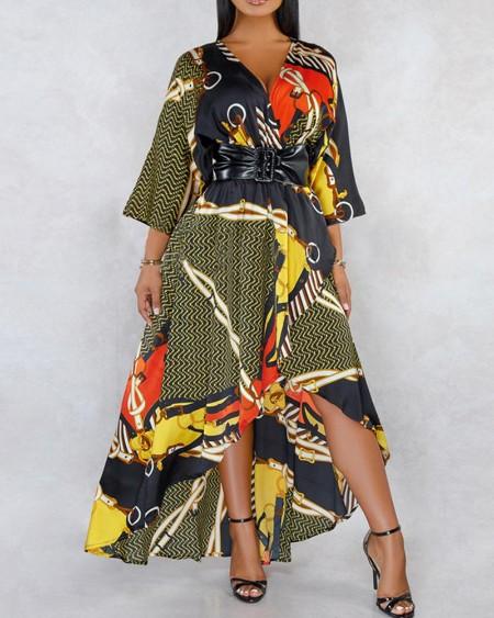 boutiquefeel / Geo Print High-Low Maxi Dress