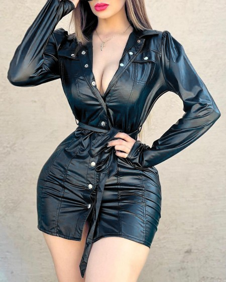 Puff Sleeve Button Design Ruched PU Shirt Dress With Belt