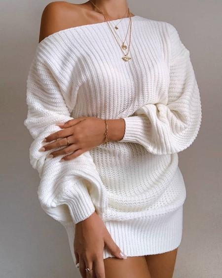 One Shoulder Lantern Sleeve Knitted Dress