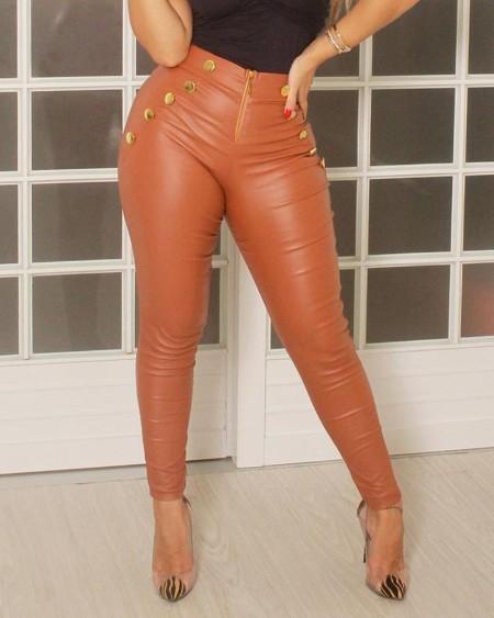 High Waist Slinky Buttoned Zipper PU Pants