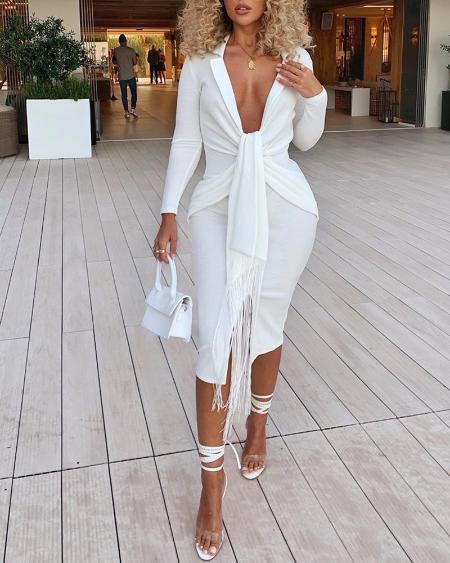 boutiquefeel / Plunging Tassel Twisted Design Dress