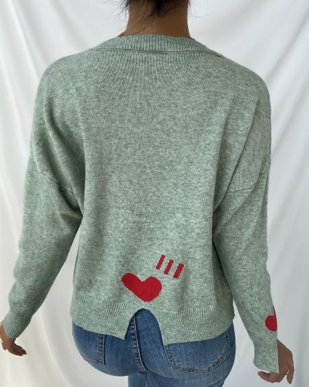 Heart Print Slit Long Sleeve Knit Sweater