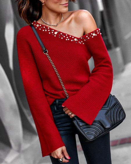 Beaded Bell Cuff One Shoulder Blouse