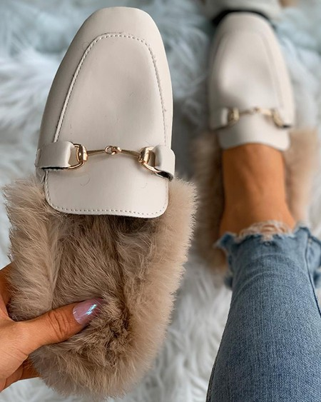 Close Toe Buckled Fluffy Shoes