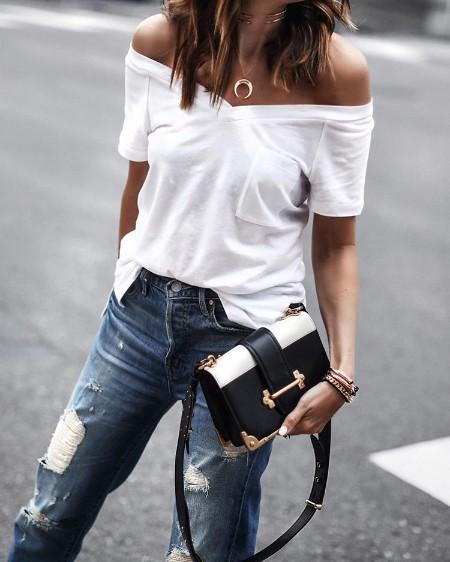 Solid Off Shoulder Pocket Design Casual T-shirt