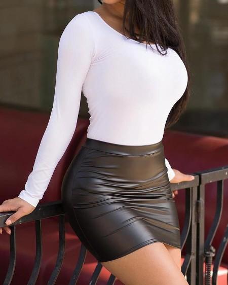 High Waist Mini PU Skirt