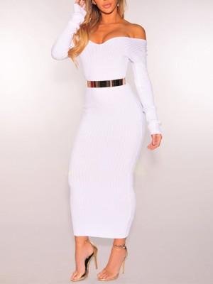 Trendy Off Shoulder Slinky Maxi Dress