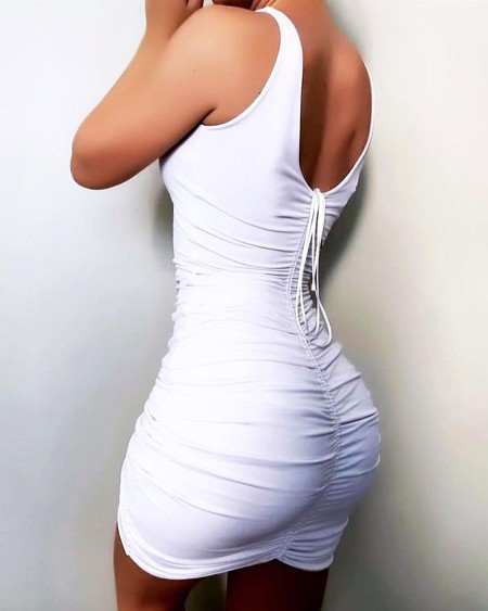 V-Neck Ruched Bodycon Dress