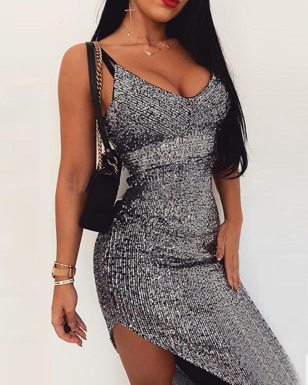 Sequin Low Cut Spaghetti Strap Dress