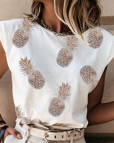 Letter Pattern / Pineapple / Heart Print Casual Tank Top