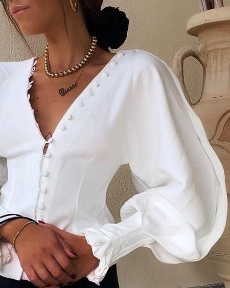 boutiquefeel / Buttoned Lantern Sleeve V-Neck Blouse