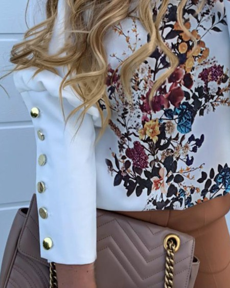 Floral Print Buttoned Detail Casual Blouse