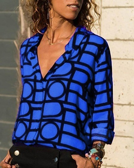 V Neck Button Up Geo Printed Shirt