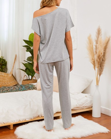 Solid Short Sleeve T-shirt With Pants Suit Sets