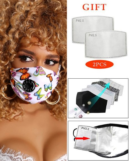 PM2.5 Butterfly Print Breathing Washable Valve Face M .a. s. k (2 filters as gift)