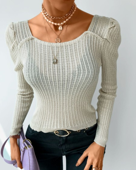 Plain Long Sleeve Casual Top