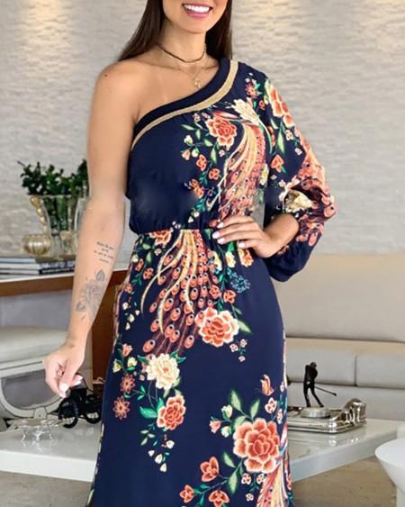 One Shoulder Exotic Print Slit Maxi Dress
