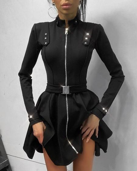 Plain Long Sleeve Skinny Zipper Design Mini Dress