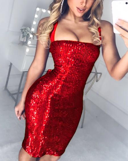 Sequined Bandage Bodycon Dress