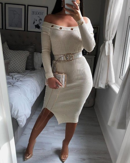 Solid Ribbed Eyelet Hollow Out Bodycon Dress