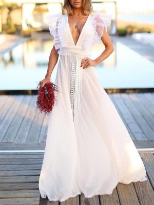 Flutter Sleeve Crochet Patchwork Plunge Maxi Dress