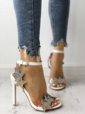 Glittering Star Embellished Thin Heeled Sandals