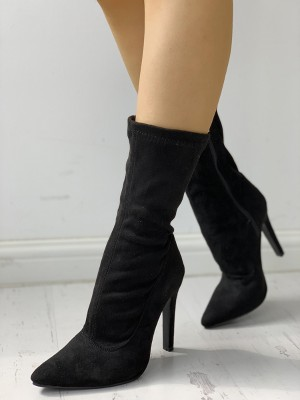 Solid Side Zipper Pointed Toe Heeled Boots