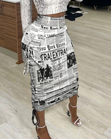 Newspaper Print Drawstring Ruched Skirt