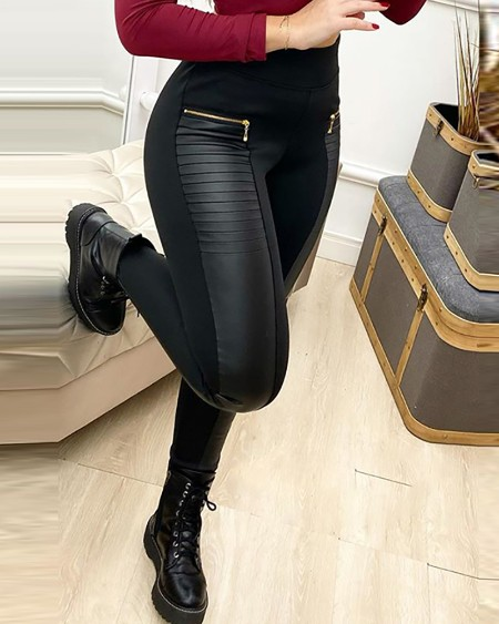 Zipper Design High Waist Skinny Pants